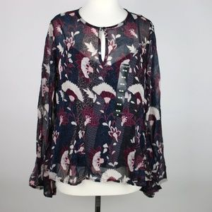 NEW LUCKY BRAND Floral Sheer Layered Blouse MEDIUM